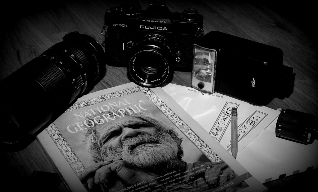 National Geographic Old picture Camera Fujica Black and White