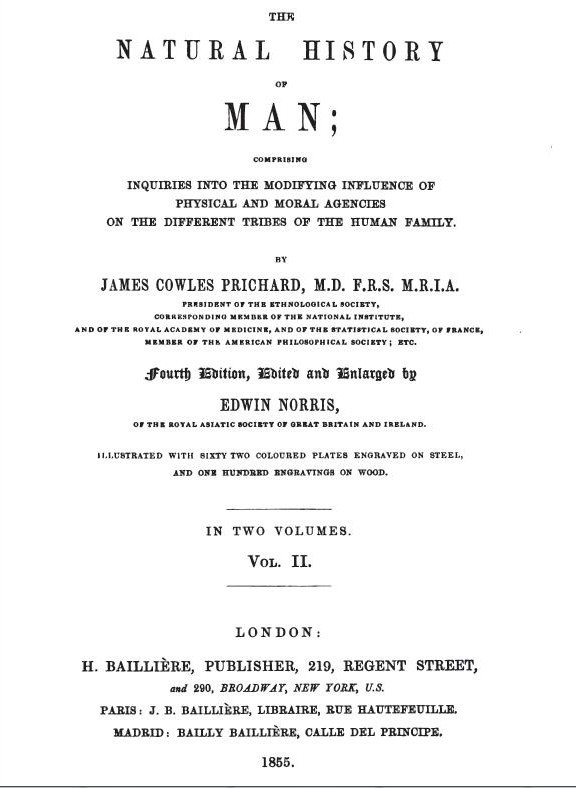 The Natural history of Man James Cowles Prichard Edwin Norris 1855 Book PDF