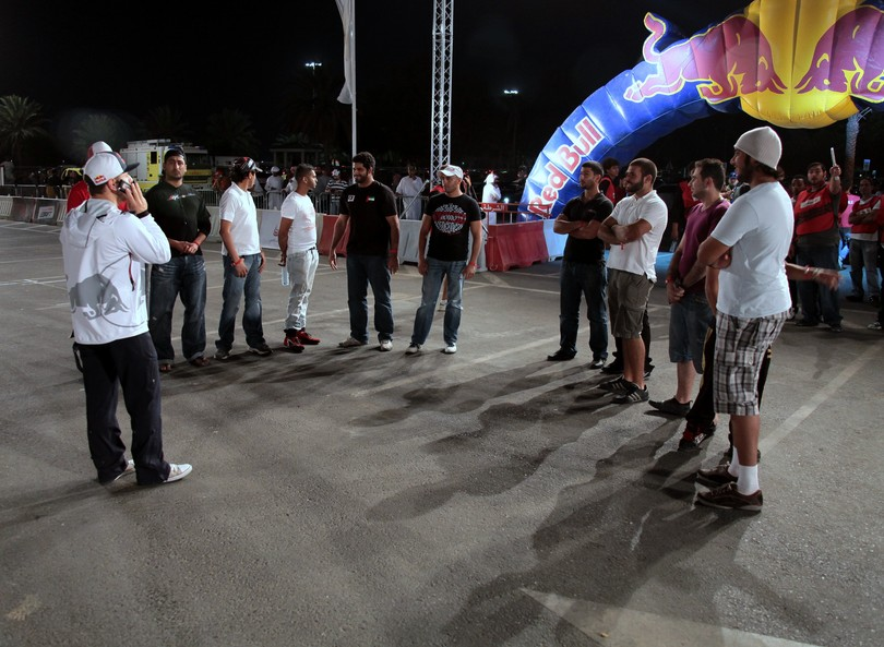 Pilots meeting before race Abu Dhabi red bull car park drift
