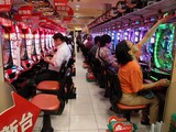 Japanese pinball gambling pachinko parlor national obsession Tokyo Japan パチンコ