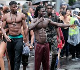 Black men muscles Lake Parade Geneva 2014