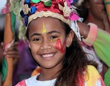 Smilling young girl Carnaval de Noumea New Caledonia