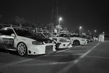 Red bull drift competition car park  Abu Dhabi black and white picture