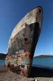 Rusty boat in New Caledonia Melanesia shipwreck