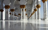 Inside white marbles Sheikh Zayed Grand Mosque Abu Dhabi United Arab Emirates