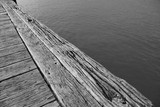 White and black photography New Zealand wooden deck abour quay artist