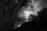 Moon at night with clouds in the sky black and white New Zealand Photography