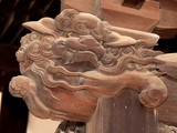 Wooden carving shishi lion architectural element shinto bouddhist temple shrine Tokyo Japan 獅子