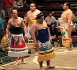keshô-mawashi 化粧廻し loincloth fronted with a heavily decorated apron worn by sekitori wrestlers Tokyo Japan